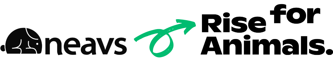 Image of the NEAVS logo with a green arrow pointing towards the Rise for Animals logo